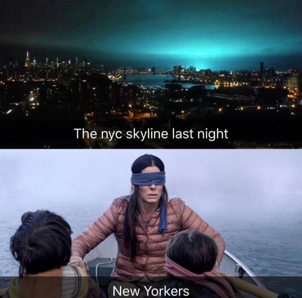 Bird Box: le creature del film hanno generato la luce blu a New York?