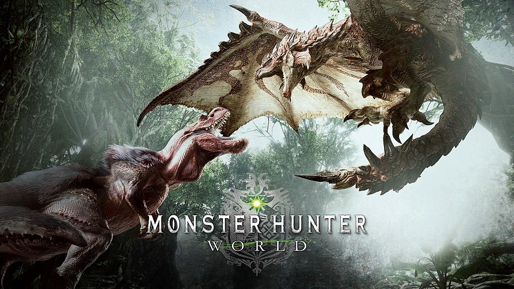 monster hunter:world logo draghi dinosauri crossover