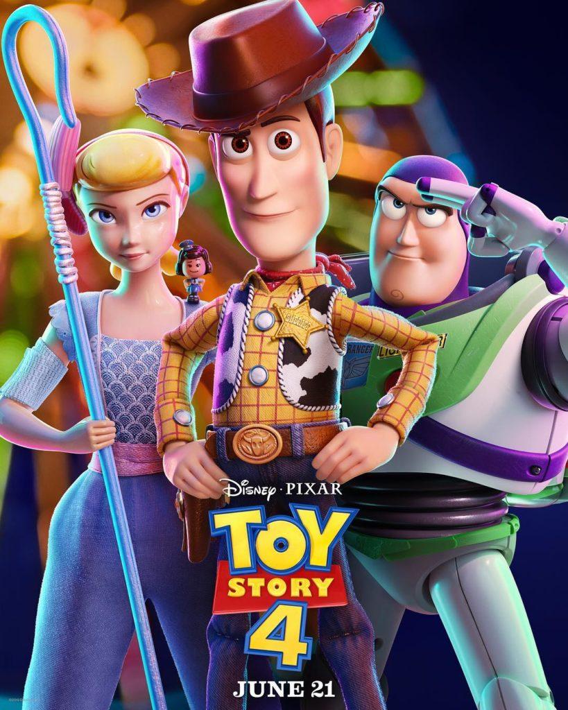 Poster Toy Story 4 - Disney Pixar - Woody, Buzzlightyear e Bo Peep