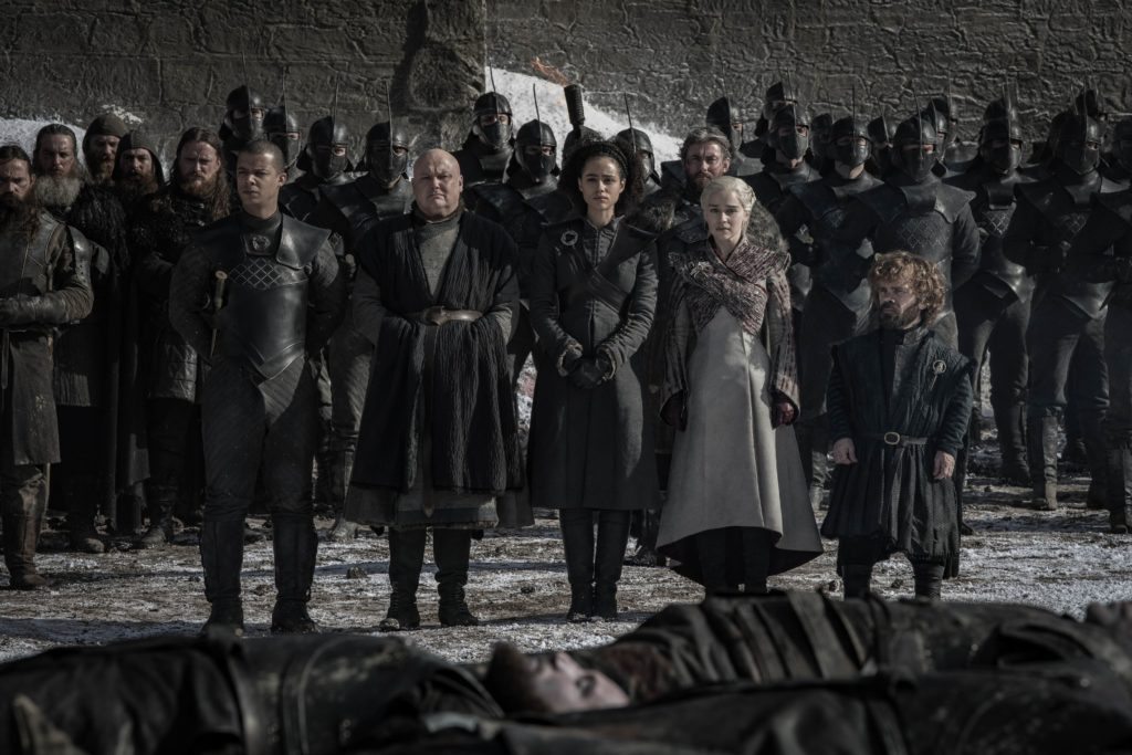 Game of Thrones 8x04 - Verme Grigio, Varys, Daenerys, Missandei, Tyrion (Credits: HBO)
