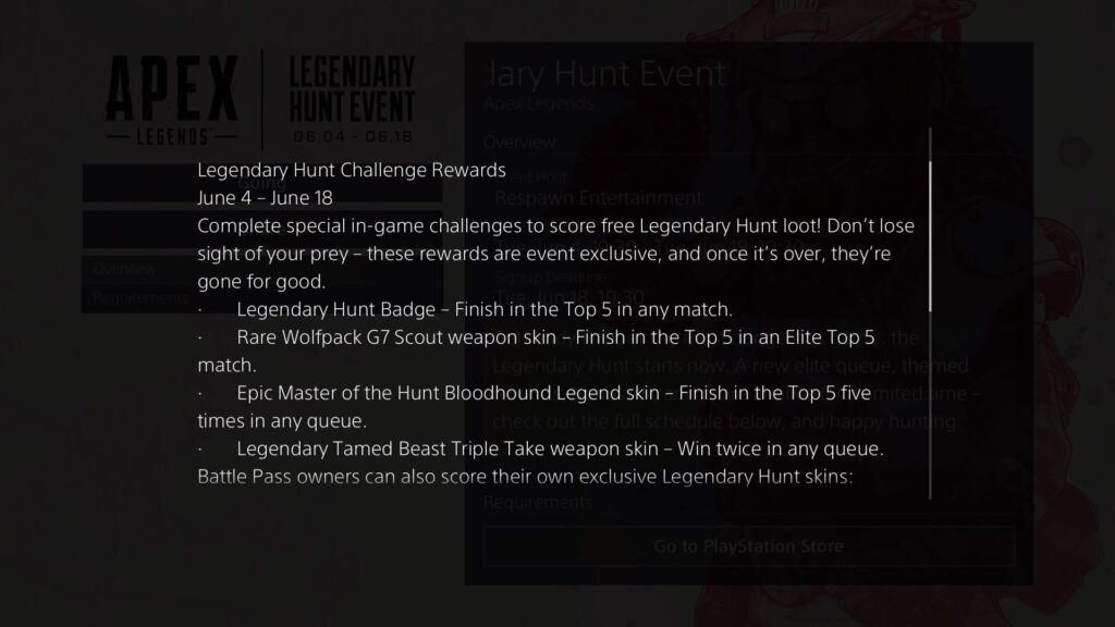 Legendary hunt rewards