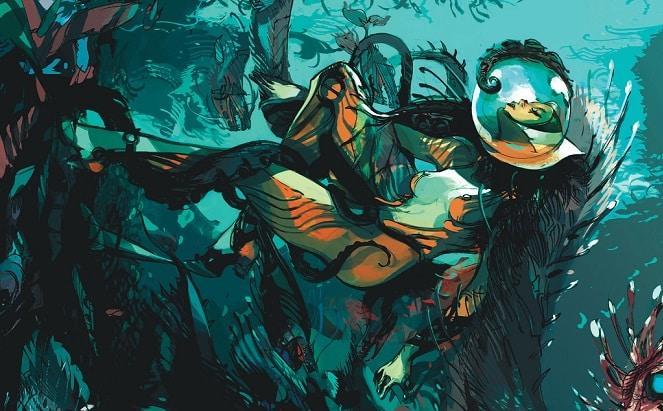 Copertina di LOW con donna intrappolata nelle alghe