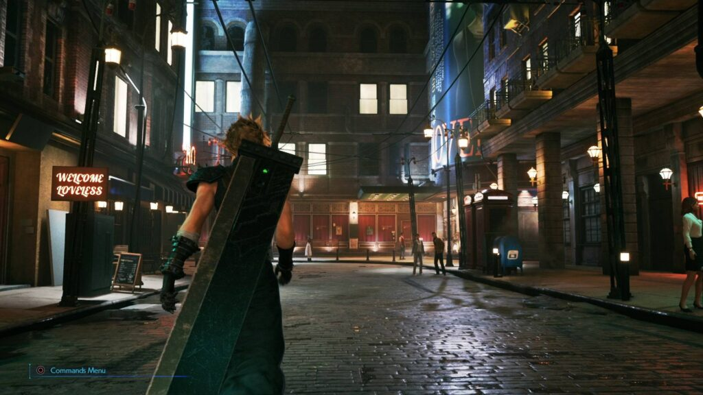 Scena di gioco dentro Midgar in Final Fantasy VII Remake.
