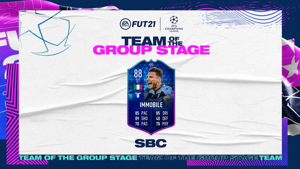 FIFA 21 Ultimate Team - FUT - Immobile TOTGS SBC Team of the Group Stage