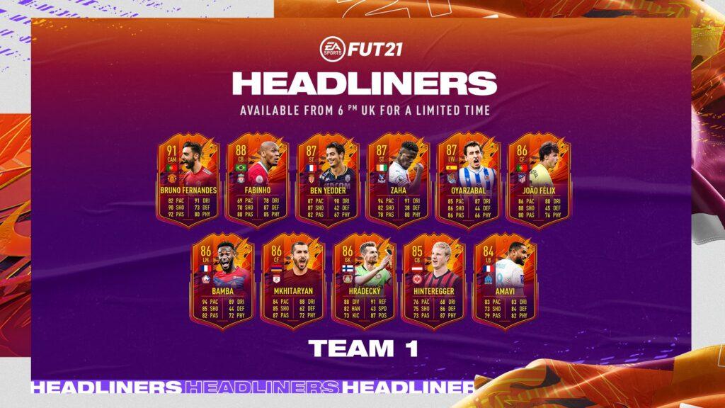 FIFA 21 Headliners Team 1 FUT - EA Sports Ultimate Team