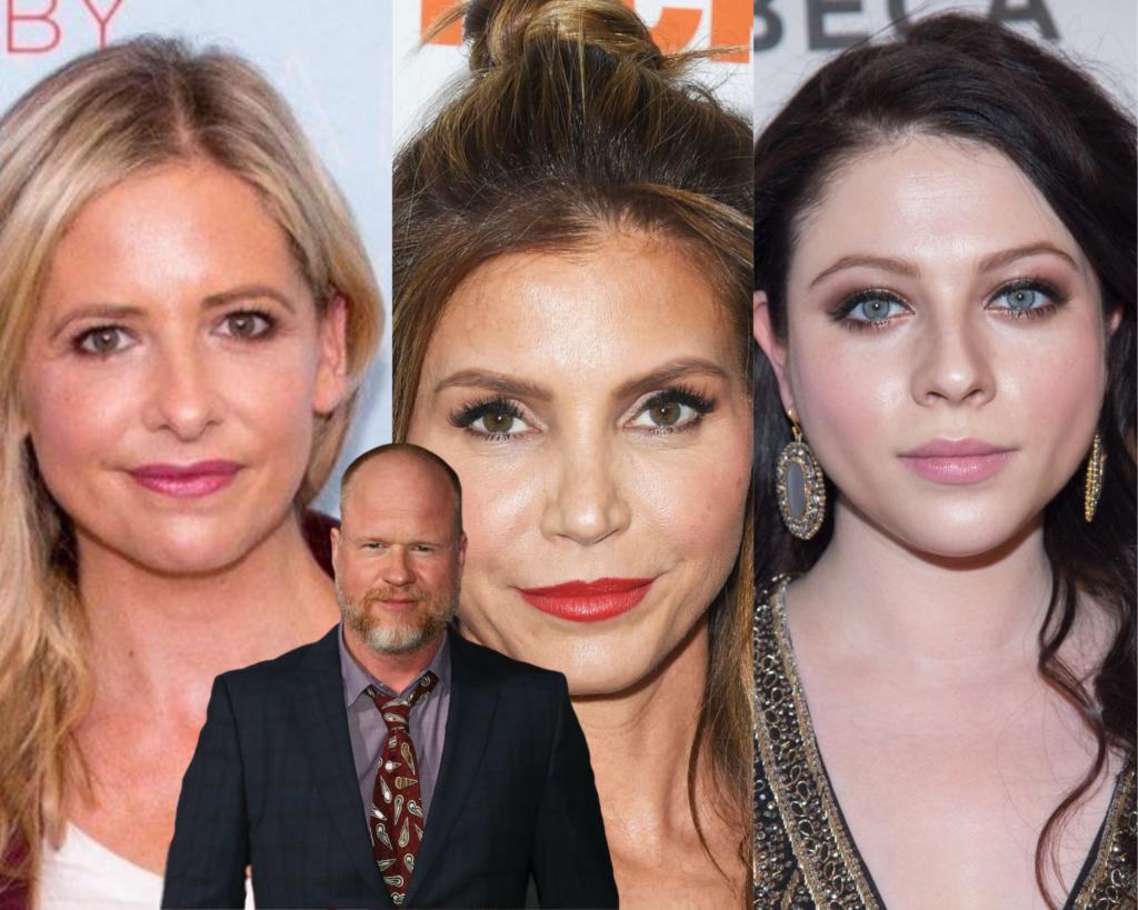 Joss Whedon Charisma Carpenter, Michelle Trachtenberg e Sarah Michelle Gellar.