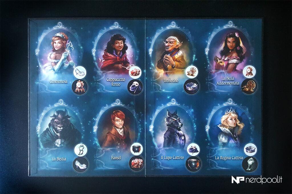 il tabellone di Grimm Masquerade, con gli 8 personaggi da scoprire.