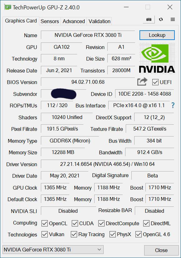 Gpu-z Nvidia RTX 3080Tid