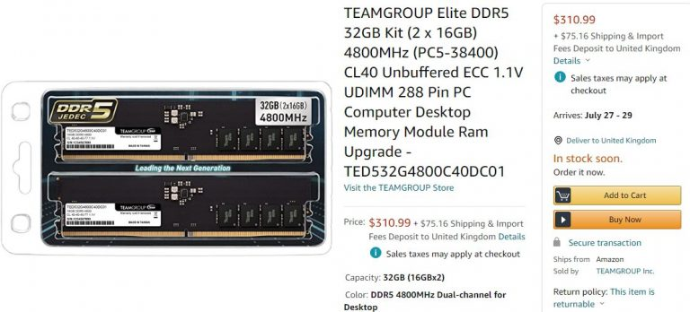 TeamGroup DDR5 Amazon