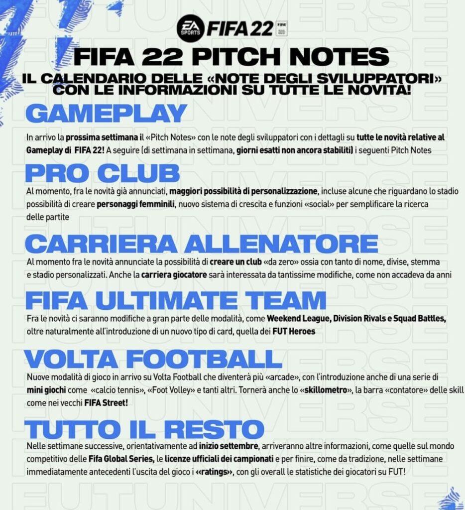 FIFA 22 Pitch Notes Italiano